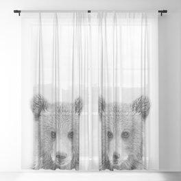 Baby Bear Black & White, Woodland Nursery Decor, Baby Animals Art Print by Synplus Sheer Curtain