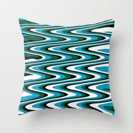 Blue green slur Throw Pillow