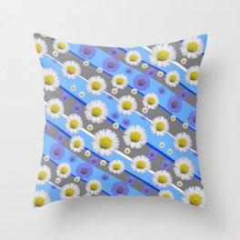 DECORATIVE DIAGONAL PATTERN BLUE MODERN ART WHITE SHASTA DAISIES Throw Pillow