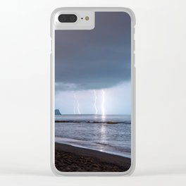 Lightning in an apprently quiet atmosphere Clear iPhone Case