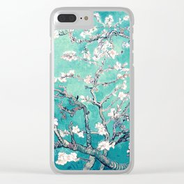 Vincent Van Gogh Almond Blossoms Turquoise Clear iPhone Case