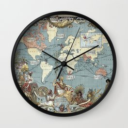 World map - British Empire - 1886 Wall Clock