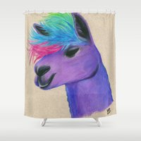 punk rock Shower Curtains featuring Punk Rock Llama by Shannon Messenger
