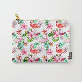 Hand painted blush pink coral watercolor tropical flamingo floral Carry-All Pouch