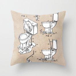 patent art Fields Toilet seat lifter 1967 Throw Pillow