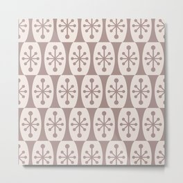 Mid Century Modern Atomic Fusion Pattern 335 Beige Metal Print