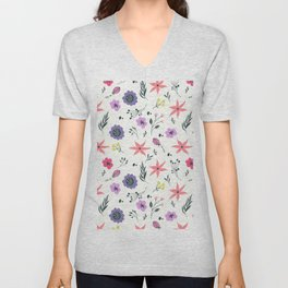 Abstract coral purple violet vector floral pattern Unisex V-Neck