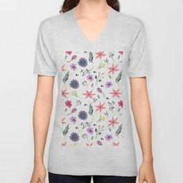 Abstract coral purple violet vector floral pattern Unisex V-Neck