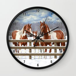 Chestnut Paint Horses In Snow Wall Clock