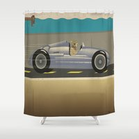 taxi driver Shower Curtains featuring Scuba Driver by Chris Cooch
