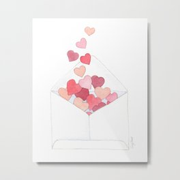 Valentine's Day, Love Notes, Send Love, Watercolor Hearts, Sandy Thomson Metal Print
