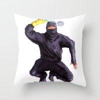 bathroom Throw Pillows featuring Bathroom Ninja by Del Gaizo