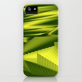 Diffuse landscap with stylised mountains, sea and yellow Sun. iPhone Case