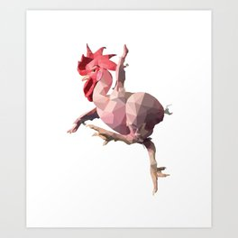 Naked Chicken (Low Poly Design) Art Print