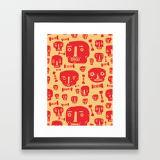 Skulls & Bones - Red/Yellow Framed Art Print