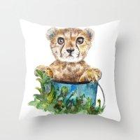 cheetah Throw Pillows featuring cheetah by Anna Shell