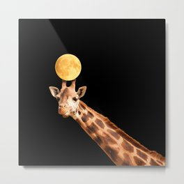 Giraffe And The Moon On A Black Background #decor #buyart #society6 Metal Print