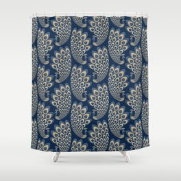 Blue and Gold Art Deco Peakock Shower Curtain