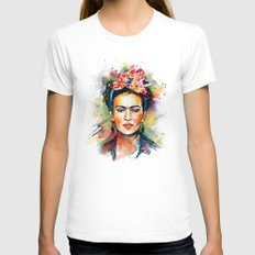Frida Kahlo MEDIUM White Womens Fitted Tee