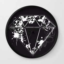 Diamond Graffiti Stencil Wall Clock