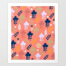 Peach floral decor Art Print