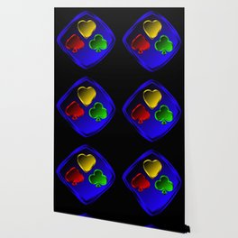 Vector set of designations of cards and suits in poker in metal frame on foil. Red green blue and ye Wallpaper