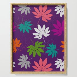 Purple tropical leaves Serving Tray