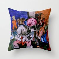 political Throw Pillows featuring Political Circus by eVol i