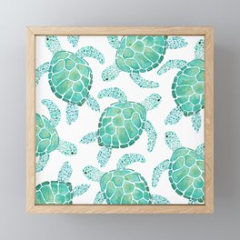 Sea Turtle Pattern - Blue Framed Mini Art Print