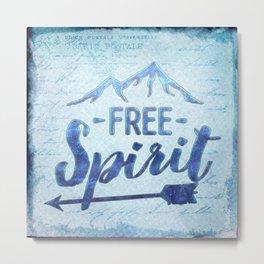 Free Spirit Mountain Travel Hiking Typography Metal Print