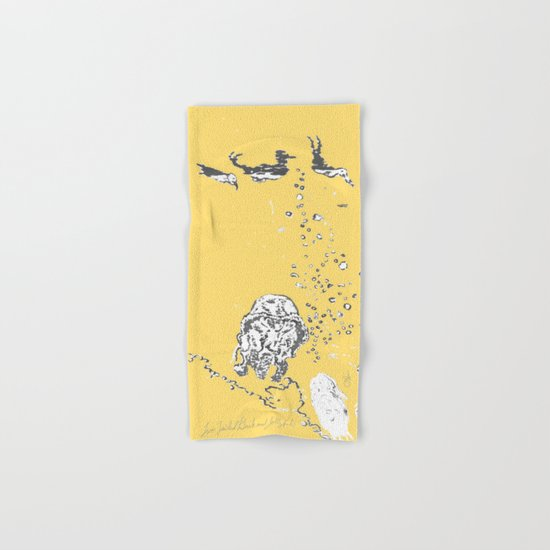 Two Tailed Duck and Jellyfish Pale Yellow Mellow Hand & Bath Towel