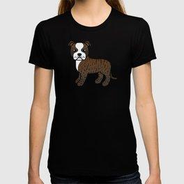 Brindle And White English Staffordshire Bull Terrier Cartoon Dog T-shirt
