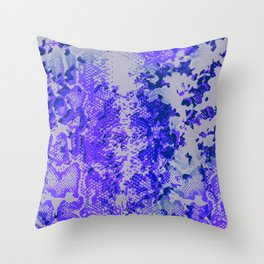 camouflage with snake texture in blues Throw Pillow