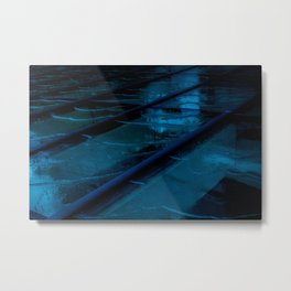 Blue Glass Waterfall Metal Print