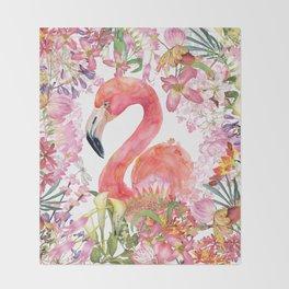 Flamingo in Tropical Flower Jungle Throw Blanket