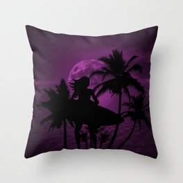 Purple Dusk with Surfergirl in Black Silhouette with Shortboard Throw Pillow