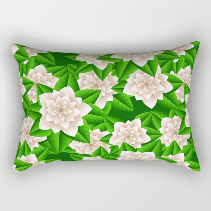 White Camellias and Green Leaves Rectangular Pillow