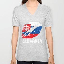 SVK Slovakia Kiss Lips Tee Shirt Unisex V-Neck