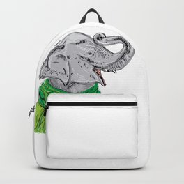 Merry Christmas New Year's card design Elephant head with a raised trunk in a knitted sweater Backpack
