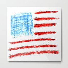 Flag of Usa 3 Chalk version- america,us,united states,american,spangled,star and strips Metal Print