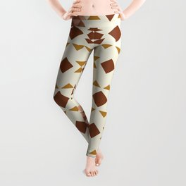 Modern Quilt Block in Terracotta and Mustard Leggings