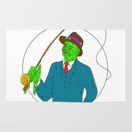 Mobster Fisherman Fly Rod Reel Grime Art Rug