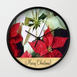Mixed Color Poinsettias 2 Merry Christmas S2F1 Wall Clock