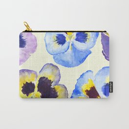 pansies pattern watercolor painting Carry-All Pouch