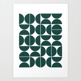 Mid Century Modern Geometric 04 Dark Green Art Print