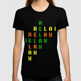 "Colorful combination of green yellow and orange tee design with text ""Relax"".Creative way to tell it T-shirt"