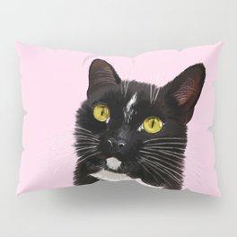 Black Cat in Pink Pillow Sham