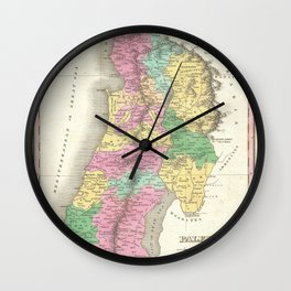 Old 1827 Historic State of Palestine Map Wall Clock