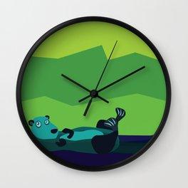 River Otter Illustration Wall Clock