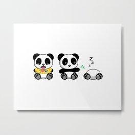 Three Little Pandas Metal Print